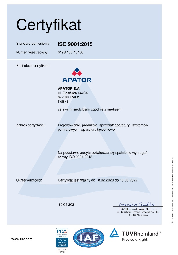 Apator ISO Certificates
